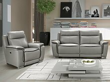 Couchgarnitur Relax Leder Paosa 3+1 - Grau mit