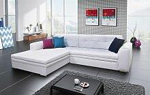 Couchgarnitur SARRA Weiss mit Schlaffunktion