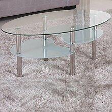 Couchtisch 98x58cm klar Glas Ablage satiniert