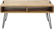 Couchtisch aus Akazienholz und schwarzem Metall