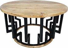 Couchtisch Lounge-Tisch Mango Massiv-Holz Rund 70