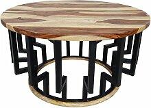Couchtisch Lounge-Tisch Sheesham Massivholz Rund