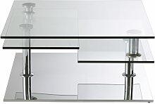 Couchtisch mit 4 Platten aus Stahl und Glas Fudji