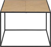 Couchtisch quadratisch Holz und Metall schwarz 60