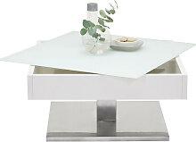 COUCHTISCH quadratisch Silberfarben, Weiß