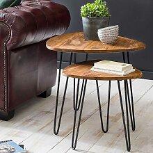 Couchtisch Set aus Sheesham Massivholz und Eisen