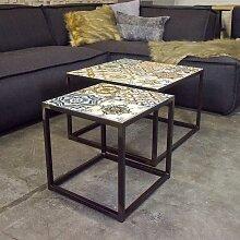 Couchtisch Set mit Keramikplatten Stahl