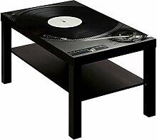 Couchtisch Tisch mit Motiv Bild Plattenspieler DJ Farbe schwarz