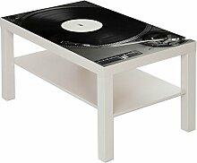 Couchtisch Tisch mit Motiv Bild Plattenspieler DJ Farbe weiß