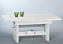 Couchtisch, Tisch, Wohnzimmertisch, Salontisch, Sofatisch, Kaffeetisch, Clubtisch, weiß matt, höhenverstellbar, ausziehbar, erweiterbar