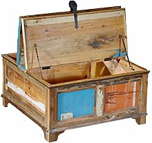 Couchtisch Truhe Vintage | recyceltes Massivholz antik, Truhe mit Staufunktion | Altholz mehrfarbig Holz | Antik Teak Massivholz Aufbewahrung Box Couchtisch Truhe Shabby Vintage Retro