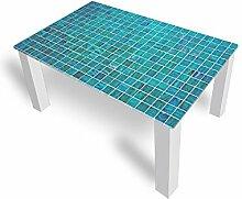 Couchtisch von DekoGlas Grill Türkis 45cm hoch – Tisch mit Glasplatte 90x55cm Beistelltisch Glastisch Kaffeetisch Teetisch Wohnzimmertisch