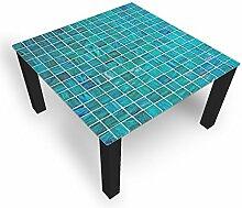 Couchtisch von DekoGlas Grill Türkis 45cm hoch – Tisch mit Glasplatte 100x100cm Beistelltisch Glastisch Kaffeetisch Teetisch Wohnzimmertisch