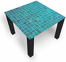 Couchtisch von DekoGlas Grill Türkis 45cm hoch – Tisch mit Glasplatte 80x80cm Beistelltisch Glastisch Kaffeetisch Teetisch Wohnzimmertisch