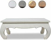 COUCHTISCH Weiß 100 x 50cm Opiumtisch Wohnzimmer MASSIV Beistelltisch Hocker Holz Tisch SHABBY CHIC