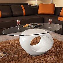 Couchtisch Weiß Kaffeetisch Oval Beistelltisch