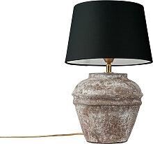 Country Tischlampe braun mit schwarzem Schirm -