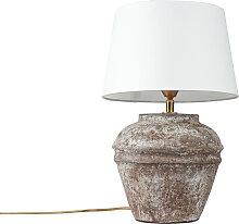 Country Tischlampe braun mit weißem Schirm - Arta