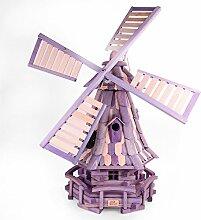 COV_GmbH dekorative Windmühle Gartendeko Garten Holz Mühle LGS1 FN Lila mit Solar