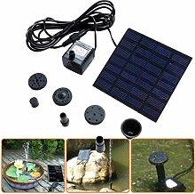 Covermason 1.2W 7V Solarbatterie Brunnen und Pumpen Solar Panel für Gartenteich Oder Springbrunnen (Schwarz)