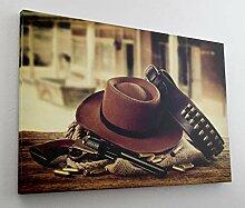 Cowboy Hut Revolver Wilder Westen Leinwand Bild