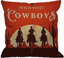 Cowboy Throw Pillow Cover,Vintage Western Cowboys
