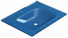 coycama Bad Waschbecken aus Glas (Sicherheitsglas, 60cm) blau