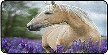 CPYang Küchenteppich mit Pferdemotiv, Lavendel,