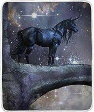 CPYang Überwurf-Decke mit Sternenmotiv, Einhorn,