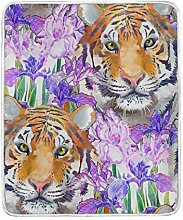 CPYang Überwurf-Decke mit Tiermotiv und Blumen,