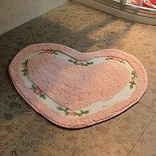 Cqq Badematte Badmatten Wasserabsorbierende rutschfeste Badematten Matratze herzförmige Schlafzimmer Tür Teppich 50 * 60cm ( Farbe : Pink )