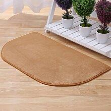 Cqq Badematte Halb-runde Matten Schlafzimmer-Eingangstür-Pad Foyer-Fußmatten Bad-Matten Küche-Anti-Rutsch-Fußpolster 40 * 60cm ( Farbe : Khaki )