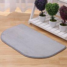 Cqq Badematte Halb-runde Matten Schlafzimmer-Eingangstür-Pad Foyer-Fußmatten Bad-Matten Küche-Anti-Rutsch-Fußpolster 40 * 60cm ( Farbe : Silber - grau )