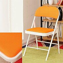 Cqq Barstühle Klappstuhl Sessel Haus Hocker Esszimmerstuhl Portable Stuhl Klappstuhl Hocker Wohnzimmer einfach Esszimmer Stuhl ( Farbe : Orange )