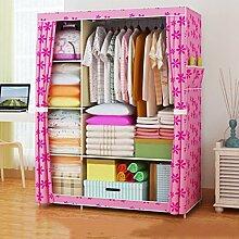 Cqq Kleiderschrank Falten einfacher Kleiderschrank Tuch Stahlrahmen Tuch Kleiderschrank Aufbewahrungsbox Einfache moderne Wirtschaft Schlafzimmer Einbauschrank ( Farbe : E )