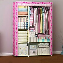 Cqq Kleiderschrank Falten einfacher Kleiderschrank Tuch Stahlrahmen Tuch Kleiderschrank Aufbewahrungsbox Einfache moderne Wirtschaft Schlafzimmer Einbauschrank ( Farbe : B )