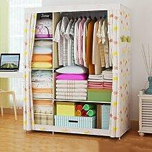 Cqq Kleiderschrank Falten einfacher Kleiderschrank Tuch Stahlrahmen Tuch Kleiderschrank Aufbewahrungsbox Einfache moderne Wirtschaft Schlafzimmer Einbauschrank ( Farbe : G )