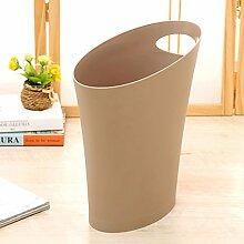 Crack Trash Kunststoff Haushalt Pfosten WC Wohnzimmer Küche Lagerung Eimer schütteln den Müllbehälter ( Farbe : Braun )