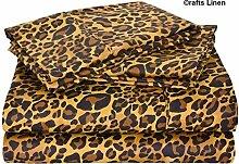 Crafts Leinen Ägyptische Baumwolle 300-thread-count Satin One Spannbetttuch und zwei Kissen Case UK King (+ 39cm) Pocket Tiefe, Leopard Prin
