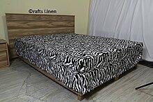 Crafts Leinen Ägyptische Baumwolle Scala Satin One Stück Bett Rock Single (+ 36cm) Pocket Tiefe, Zebra Prin