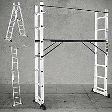 Craftworx Aluminium Multigerüst 4in1 Mehrzweckleiter XL Multifunktionsleiter Gerüst Stehleiter Bockleiter Leiter 1,95 Meter Höhe 40,5cm Breite