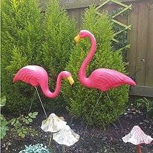 Cravog 2rosa Kunststoff-Flamingos, Rasendekor, Ornamente im Hof, Gartenteich, für Partys, Naturschönhei
