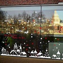 CRAVOG Fensteraufkleber Weihnachten-Weihnachten Elch Fenster Weihnachtlich Dekorieren Weihnachtsparty Dekoration 2016