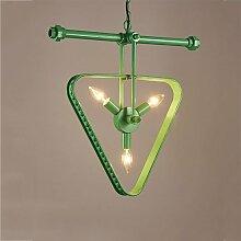 Crayom Loft Retro Industrielle Restaurant Wasser Rohr Sanitär Pendelleuchte Kreative Amerikanischen Land E14 Lichtquelle Wohnzimmer Schlafzimmer Lampen Dreieck Eisen Kronleuchter ( Color : Green )