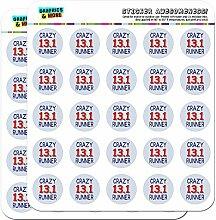 Crazy 13,1Runner Marathon 2,5cm (2,5cm) Scrapbooking, Aufkleber