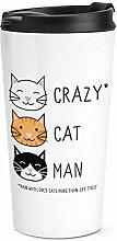 Crazy Katze Mann Reise Becher