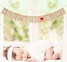 Crazy-M Vintage Leinen Welcome Baby Banner
