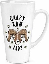 Crazy RAM Lady Sterne 17oz große Latte Becher