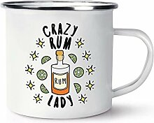 Crazy Rum Lady Stars Emaille Becher