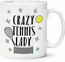 Crazy Tennis Lady 10oz Becher Tasse